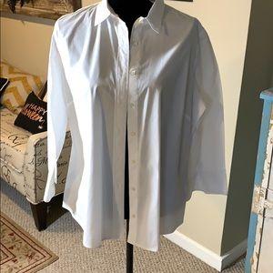 J. Crew White 3/4 Sleeves Button Down Shirt